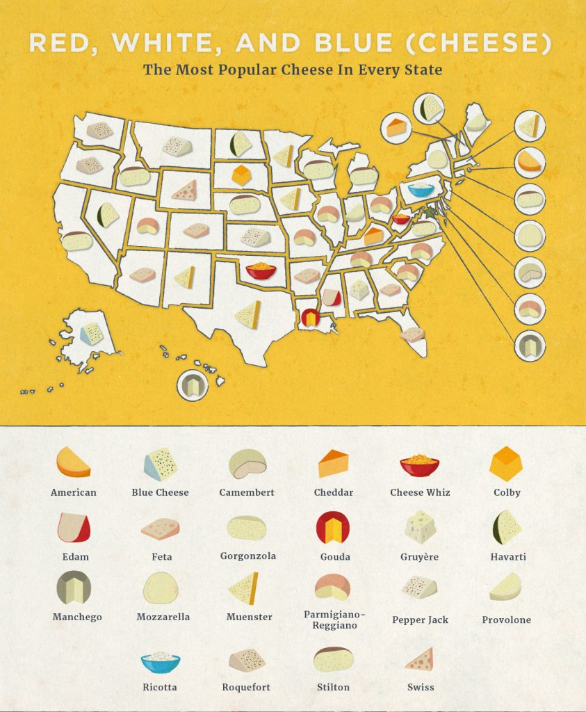 Map Of The Most Popular Cheeses By State
