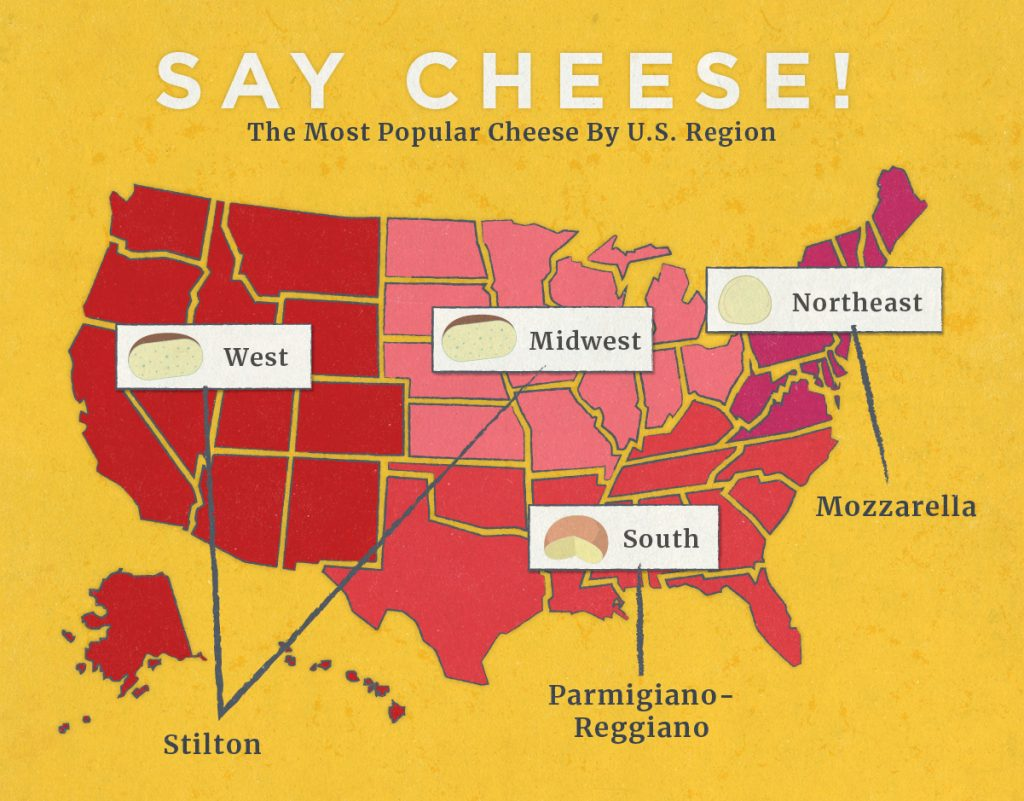 Map Of Most Popular Cheese By Region